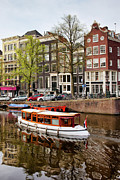 Linked Prints - Boats on Canal in Amsterdam Print by Artur Bogacki