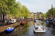Linked Prints - Boats on Canal Tour in Amsterdam Print by Artur Bogacki