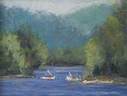 Boats Pastels Posters - Boats On Lake Poster by Joyce A Guariglia