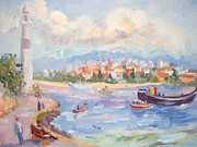 Flying Seagulls Originals - Boats on the Bosphorus Istanbul by Elinor Fletcher