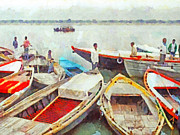 Boats On Water Digital Art Posters - Boats on the Ganges River Poster by Digital Photographic Arts