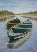 Brown Tones Paintings - Boats on the Kupa by Andreja Dujnic