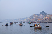 Boats On The River Ganges At Varanasi In India Print by Robert Preston