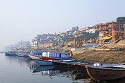 Uttar Pradesh Prints - Boats on the River Ganges Varanasi Print by Robert Preston