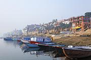 Boats On The River Ganges Varanasi Print by Robert Preston