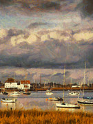 Impressionist Photos - Boats on the river by Pixel Chimp