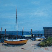 P Town Paintings - Boats Provincetown by Candice Ronesi