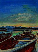 Neon Effects Painting Originals - Boats Under Evening Sky by Shirl Theis