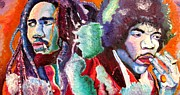 Famous Musicians Painting Originals - Bob and Jimi by Michael Owens