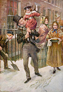 Charles Dickens Paintings - Bob Cratchit and Tiny Tim by Harold Copping