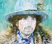 Singer  Paintings - Bob Dylan Oil Portrait by Fabrizio Cassetta