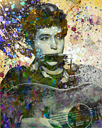 60s Paintings - Bob Dylan Original Painting Print by Ryan Rabbass