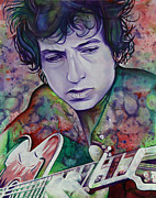 Singer Painting Posters - Bob Dylan-Pink and Green Poster by Joshua Morton