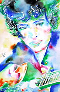 Bob Gibson Posters - BOB DYLAN playing the GUITAR - WATERCOLOR PORTRAIT.2 Poster by Fabrizio Cassetta