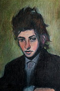 Rock Star Drawings - Bob Dylan Portrait in Colored Pencil  by Neal  Eslinger