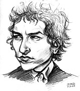 Music Legend Drawings - Bob Dylan Sketch Portrait by John Ashton Golden
