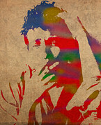 Dylan Posters - Bob Dylan Watercolor Portrait on Worn Distressed Canvas Poster by Design Turnpike