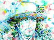 Singer Songwriter Paintings - Bob Dylan Watercolor Portrait.2 by Fabrizio Cassetta
