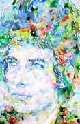 Bob Dylan Watercolor Portrait.3 Print by Fabrizio Cassetta