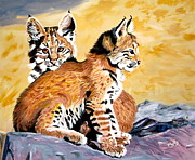 Bobcat Paintings - Bob Kittens by Phyllis Kaltenbach