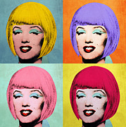 Hairstyle Digital Art Framed Prints - Bob Marilyn  set of 4 Framed Print by Filippo B