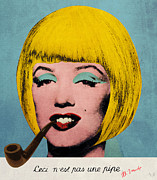 Hairstyle Digital Art Framed Prints - Bob Marilyn  With Surreal Pipe Framed Print by Filippo B