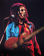 Eric Clapton Painting Metal Prints - Bob Marley 2 Metal Print by Paul  Meijering