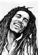 Featured Portraits Framed Prints - Bob Marley art drawing sketch portrait  Framed Print by Kim Wang