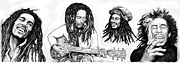 Bands Drawings Prints - Bob Marley art drawing sketch poster Print by Kim Wang