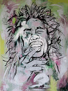 Lead Mixed Media Framed Prints - Bob Marley art painting sketch poster Framed Print by Kim Wang