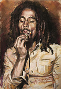 Songwriter Drawings Posters - Bob Marley Poster by Viola El