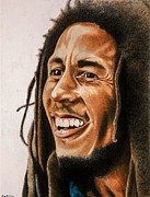 Songwriter Drawings Posters - Bob Marley Poster by Brian Broadway
