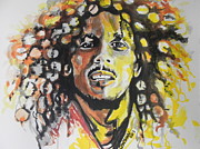 Musician Greeting Cards Paintings - Bob Marley by Chrisann Ellis