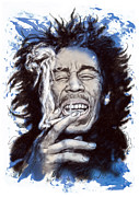 Featured Portraits Prints - Bob Marley colour drawing art poster Print by Kim Wang