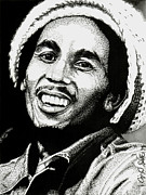 Music Drawings Prints - Bob Marley Print by Cory Still