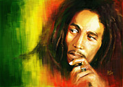 Guitar Legend Posters - Bob Marley Digital Painting Poster by Sanely Great