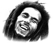 Jamaican Music Art - Bob Marley Drawing by Sanely Great