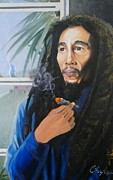 Mj Framed Prints - Bob Marley Hay Days Framed Print by Chuck Collins