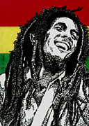 Pen And Ink Portraits Posters - Bob Marley-Laughing Poster by Cory Still