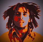 Bob Marley Lego Pop Art Digital Painting Print by Georgeta Blanaru