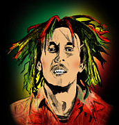 Bob Marley Abstract Prints - Bob Marley Print by Mark Ashkenazi