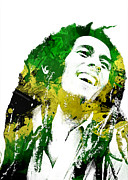 Digital Mixed Media Prints - Bob Marley Print by Mike Maher
