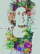 Rock Band Mixed Media Prints - Bob Marley Music Legend Print by Irina  March