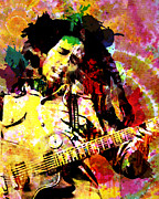Hippie Prints - Bob Marley Original Painting Print Print by Ryan Rabbass