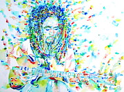 Jamaican Music Paintings - BOB MARLEY PLAYING THE GUITAR - watercolor portarit by Fabrizio Cassetta