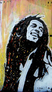 Singer Glass Art Framed Prints - Bob Marley PopArt Framed Print by Esteban Vera