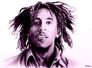 Famous Singers Prints - Bob Marley   purple haze Print by Andrew Read