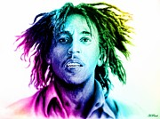 Shirt Digital Art Posters - Bob Marley  rainbow effect Poster by Andrew Read