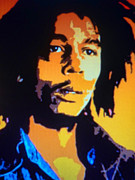 Lead Singer Paintings - Bob Marley by Ryszard Sleczka