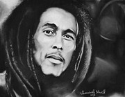 Singers Drawings Prints - Bob Marley Print by Samantha Howell
